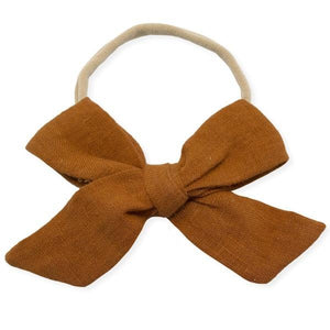 oh baby! School Girl Bow Linen Nylon Headband - Large Bow - Rust