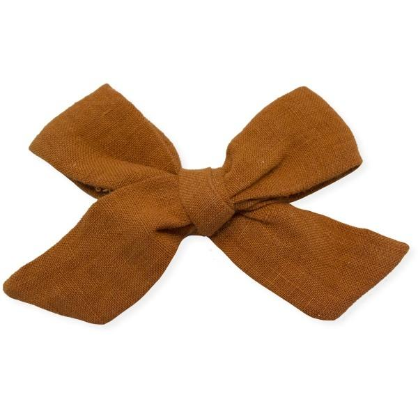 oh baby! School Girl Bow Linen Clip Large - Rust