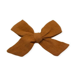 oh baby! School Girl Bow Linen Hair Clip Medium - Rust