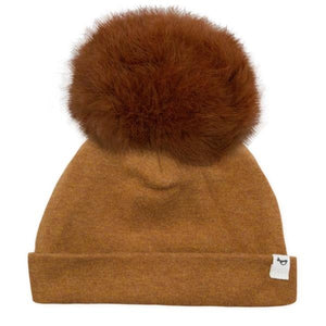 oh baby! Snap Fur Pom Hat Rust - Rust