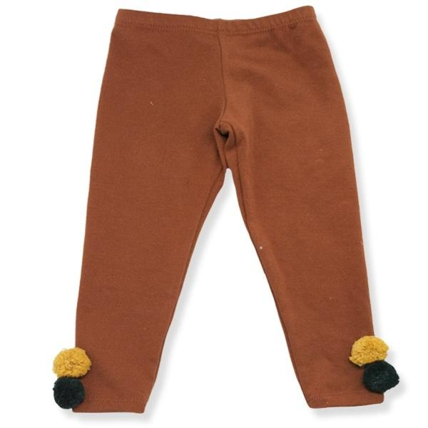 oh baby! Yarn Pom Leggings - Rust