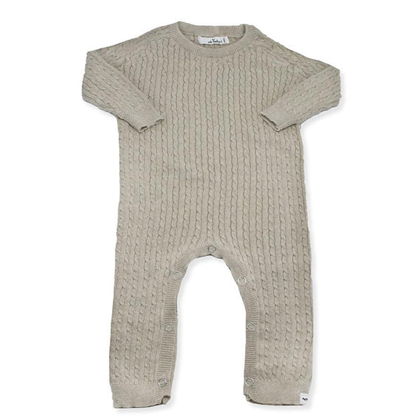 oh baby! Cable Knit Romper, Sand