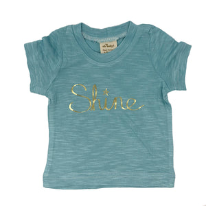 "oh baby! Short Sleeve Bamboo Slub Tee - ""Shine"" Gold - Blue"