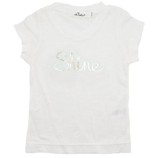 "oh baby! Short Sleeve Bamboo Slub Tee - ""Shine"" Gold Foil - Cream"