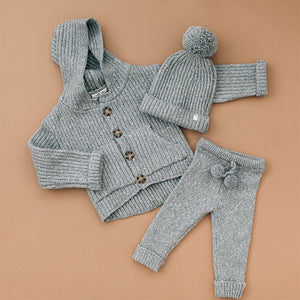 oh baby! Marled Knitted Cardigan Sweater - Hazy Grey