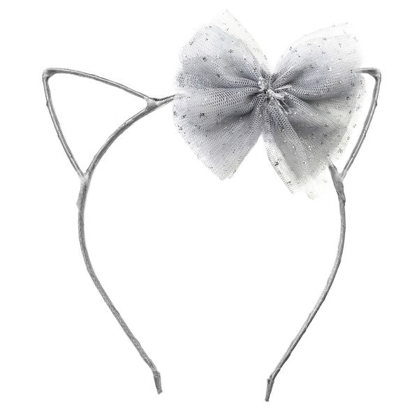 oh baby! Kitty Headband Silver - Silver Bow