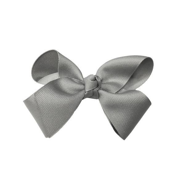 oh baby! Grosgrain Large Ribbon Bow Hair Clip - Silver - oh baby!
