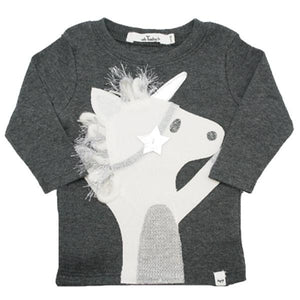 oh baby! Long Sleeve Top - Silver Star Unicorn - Charcoal