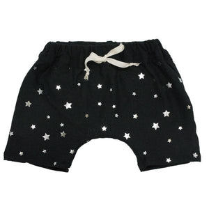oh baby! Mini Jogger Shorts - All Over Silver Foil Stars - Black