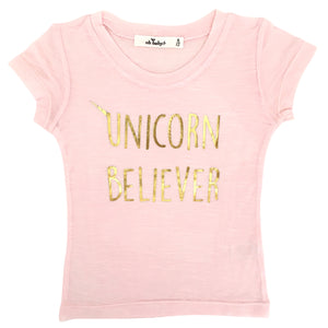 "oh baby! Short Sleeve Bamboo Slub Top - ""Unicorn Believer"" Gold - Pale Pink"