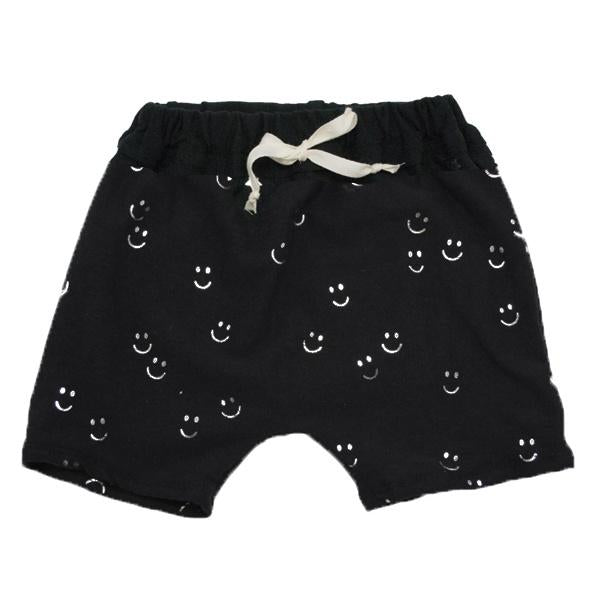 oh baby! Mini Jogger Shorts - All Over Smiley Silver - Black