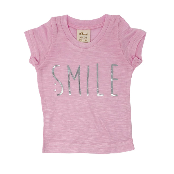 "oh baby! Short Sleeve Slub Tee - ""Smile"" Silver - Candy Pink"