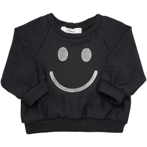 Oh Baby! SoHo Boxy Sweatshirt - Smiley Silver Foil  - Black