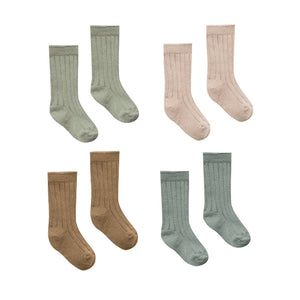 Quincy Mae - Organic Ribbed Jersey Sock Pack - Multi Colored