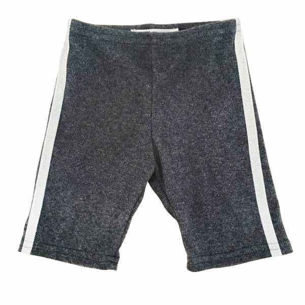 oh baby! Sport Biker Shorts With Silver Stripes - Charcoal