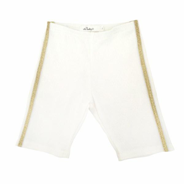 oh baby! Sport Biker Shorts With Gold Stripes - Cream