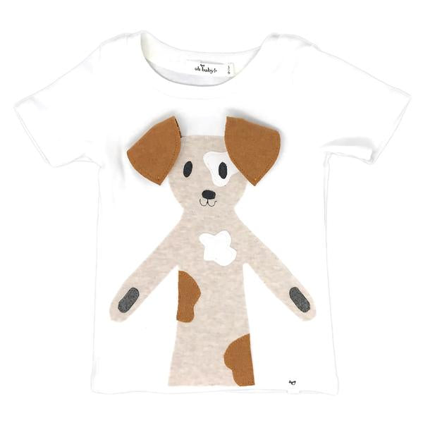 oh baby! Spot Dog Rust Short Sleeve Baby Rib Tee - Cream