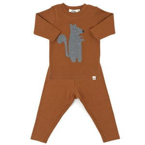 oh baby! Two Piece Set - Grey Squirrel - Rust