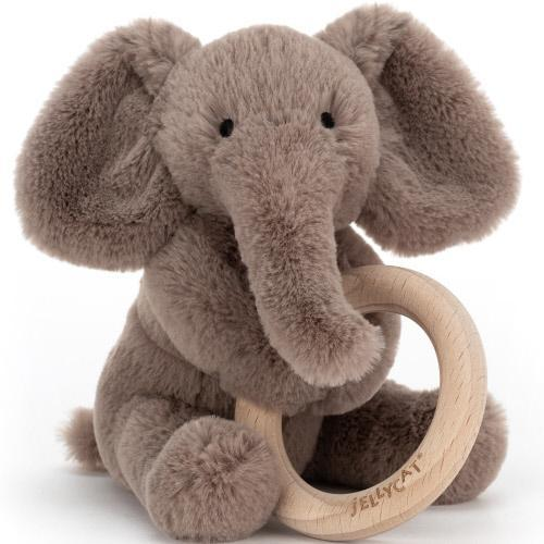 Jellycat Wooden Ring Rattle - Smudge Elephant