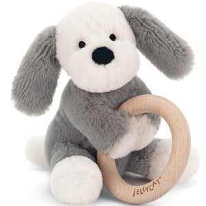 Jellycat Wooden Ring Rattle - Smudge Puppy