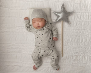 oh baby! Two Piece Set - Silver Stars - Charcoal
