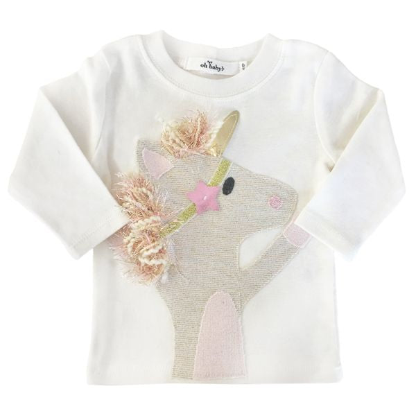 oh baby! Long Sleeve Top - Star Unicorn - Cream