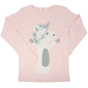 oh baby! Long Sleeve Top - Star Unicorn - Pale Pink - Size 8
