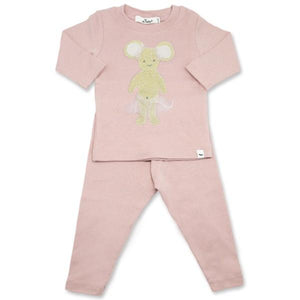 oh baby! Two Piece Set - Stardust Gold Ballerina Mouse w/Pale Pink Mesh - Blush