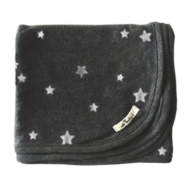 oh baby! Screen Printed Layette Blanket - Silver Stars - Charcoal
