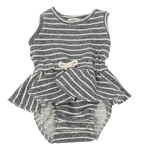 oh baby! Skirted Favorite Romper - Steele Stripe