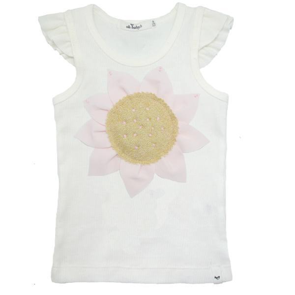 oh baby! Flutter Tank - Pale Pink and Gold Sunflower