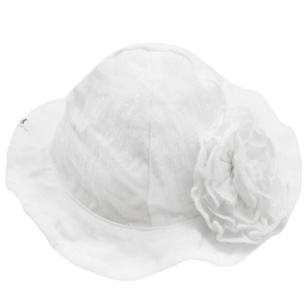oh baby! Sun Hat Linen with Frill Flower Pin - Ivory