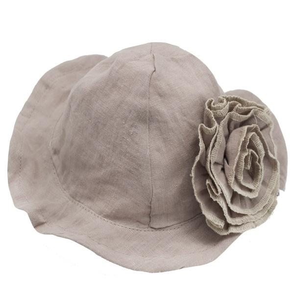 oh baby! Sun Hat Linen with Frill Flower Pin - Rose