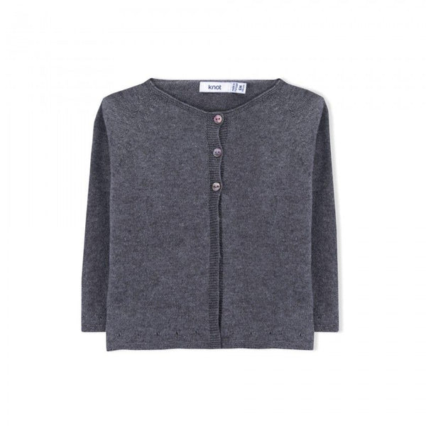 Cashmere Knitted Sweater Front Buttons - Grey