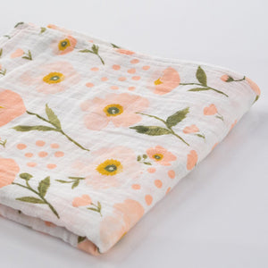Clementine Kids - Single Swaddle Blanket - Blush Bloom - oh baby!