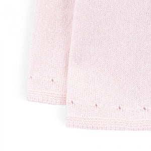 Cashmere Knitted Sweater Front Buttons - Light Pink