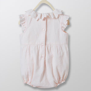 Cyrillus Paris Swiss Dot Baby Rompersuit - Pale Pink