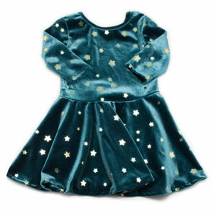 oh baby! Starry Velvet Dress, Teal with Gold Foil