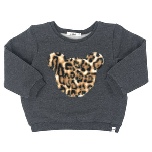 oh baby! Brooklyn Boxy Sweatshirt - Tan Cheetah Leopard Print Teddy - Charcoal