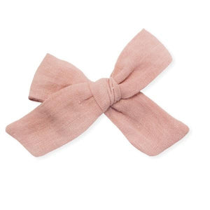 oh baby! School Girl Bow Linen Clip Large - Terracotta