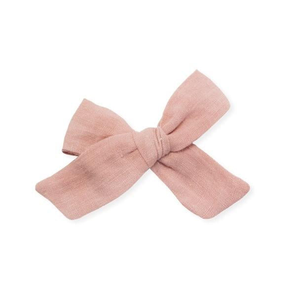 oh baby! School Girl Bow Linen Hair Clip Medium - Terracotta