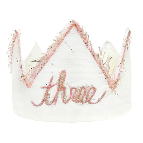 "oh baby! ""Three"" Birthday Crown with Blush/Gold Trim on Oyster Linen - oh baby!"