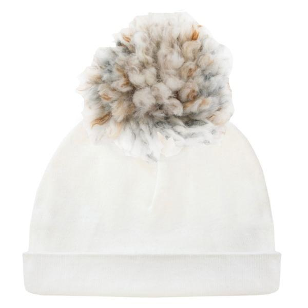 oh baby! Hat - Yarn Pom - Toasted Marshmallow on Cream