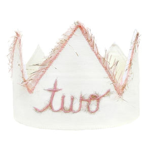 "oh baby! ""Two"" Birthday Crown with Blush/Gold Trim on Oyster Linen - oh baby!"