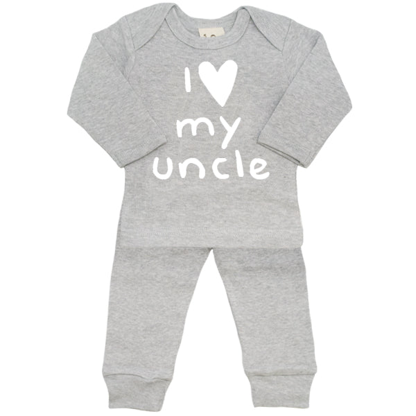 oh baby! Two Piece Set - I Love My Uncle - Heather Grey