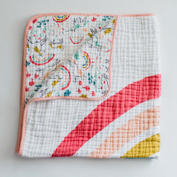 Clementine Kids - Reversible Quilt - Unicorn Land/Rainbow - oh baby!