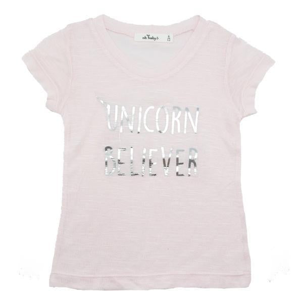 "oh baby! Short Sleeve Slub Top - ""Unicorn Believer"" - Pale Pink/Silver"
