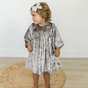 oh baby! Raphael Velvet Dress - Smoke Crush