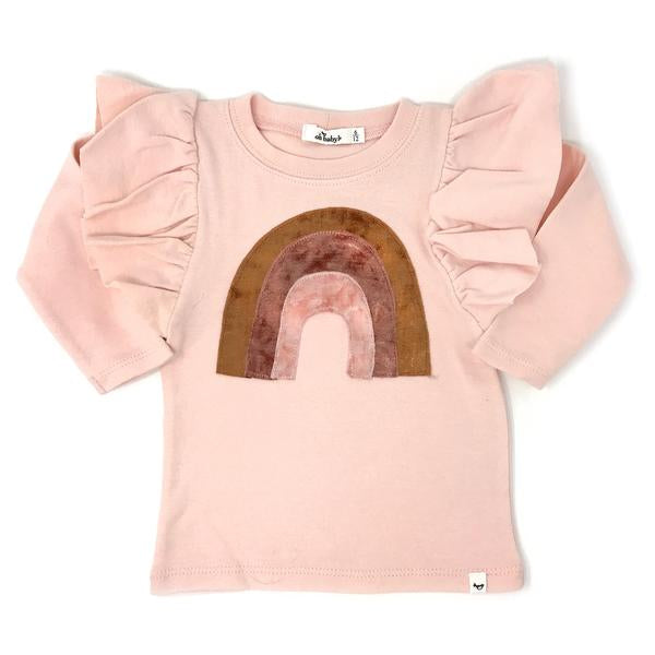 oh baby! Butterfly Sleeve Tee - Velvet Rainbow - Pale Pink
