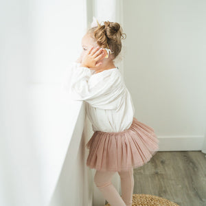 oh baby! Frill Tutu Champagne Over Dark Blush Tulle
